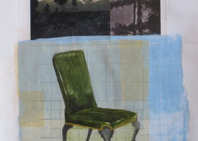 CHAIR 5<br />mixed media on paper     30 x 22     2015