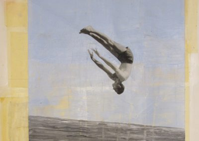 FALLING MAN<br />mixed media on paper     30 x 22     2014