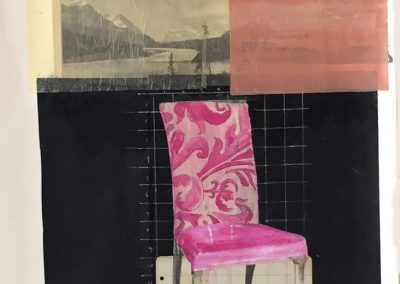 PINK CHAIR<br />mixed media on paper     30 x 22     2015