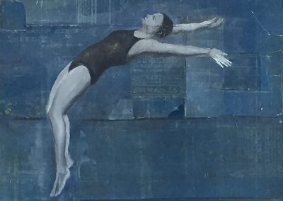 DIVING FIGURE<br />oil and collage     40 x 24     2017