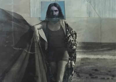 JESUS ON THE BEACH<br />oil and collage12 x 92017