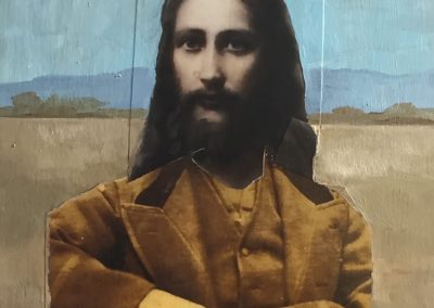 JESUS ON THE PLAINS<br />oil and collage14 x 122017