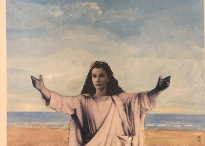 VIVIEN LEIGH AS JESUS<br />oil and collage12 x 92017