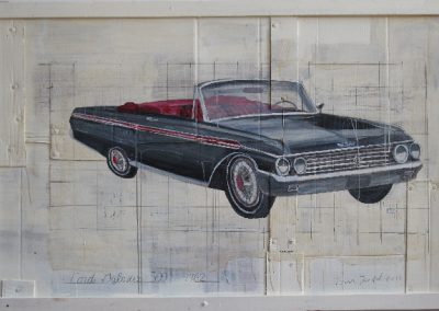 1962 FORD GALAXIE<br />oil on panel     47 x 73     2011