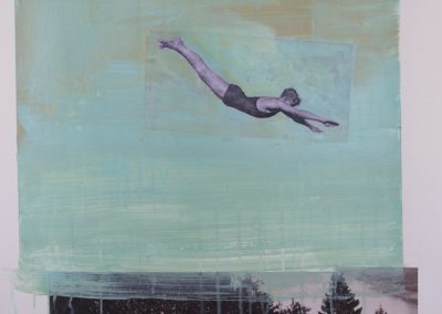 DIVING FIGURE 4<br />mixed media on paper30 x 222014