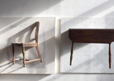 CHAIR AND TABLE<br />found chair and table with drywall and wallpaper constructed walls     each panel 48 x 48     2017